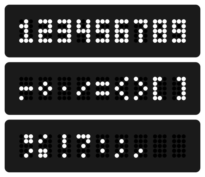 15 точек. Цифры и символы