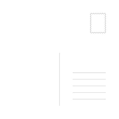 Задник валентинки с разметкой для адреса, марки и местом для поздравления