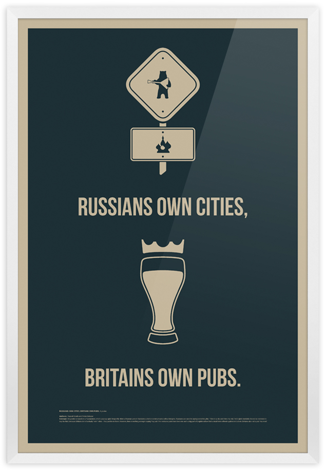 Плакат Russians own cities, Britains own pubs.